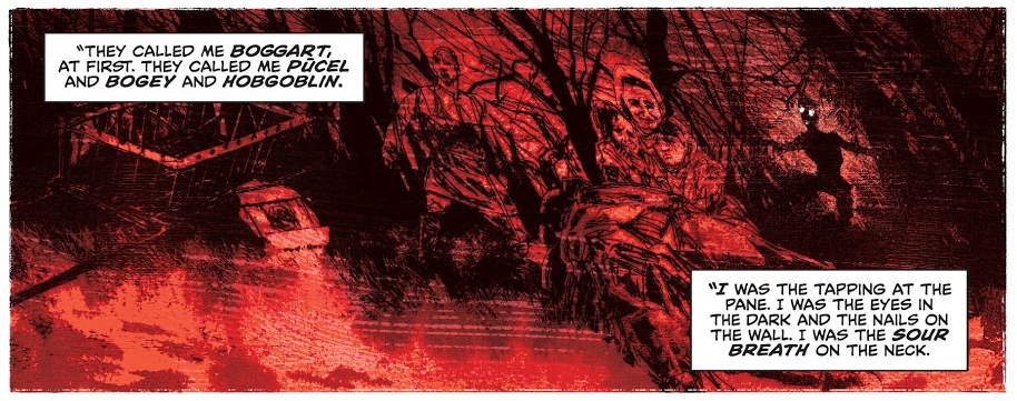 A panel from John Constantine: Hellblazer #11 showing a distorted scene of a demon haunting people in historical settings.