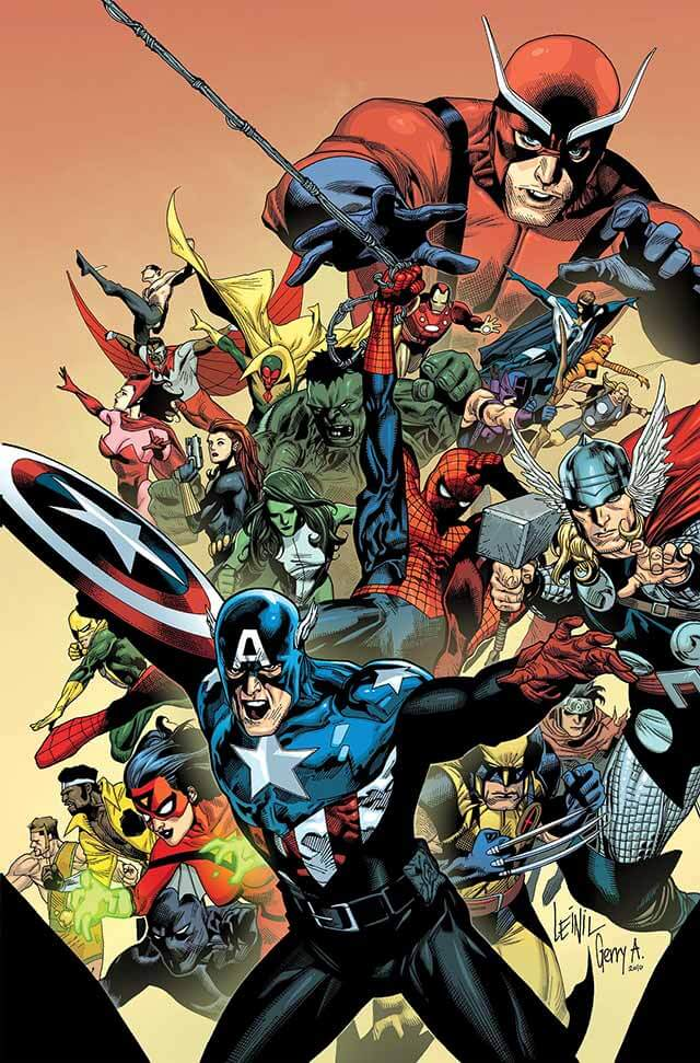 Cover for I Am An Avenger #1, by Leinil Yu and Gerry Alanguilan. A large array of different Marvel characters are dynamically coming towards the viewer, such as Spider-man, Hulk, and Captain America projecting most closest to the foreground.