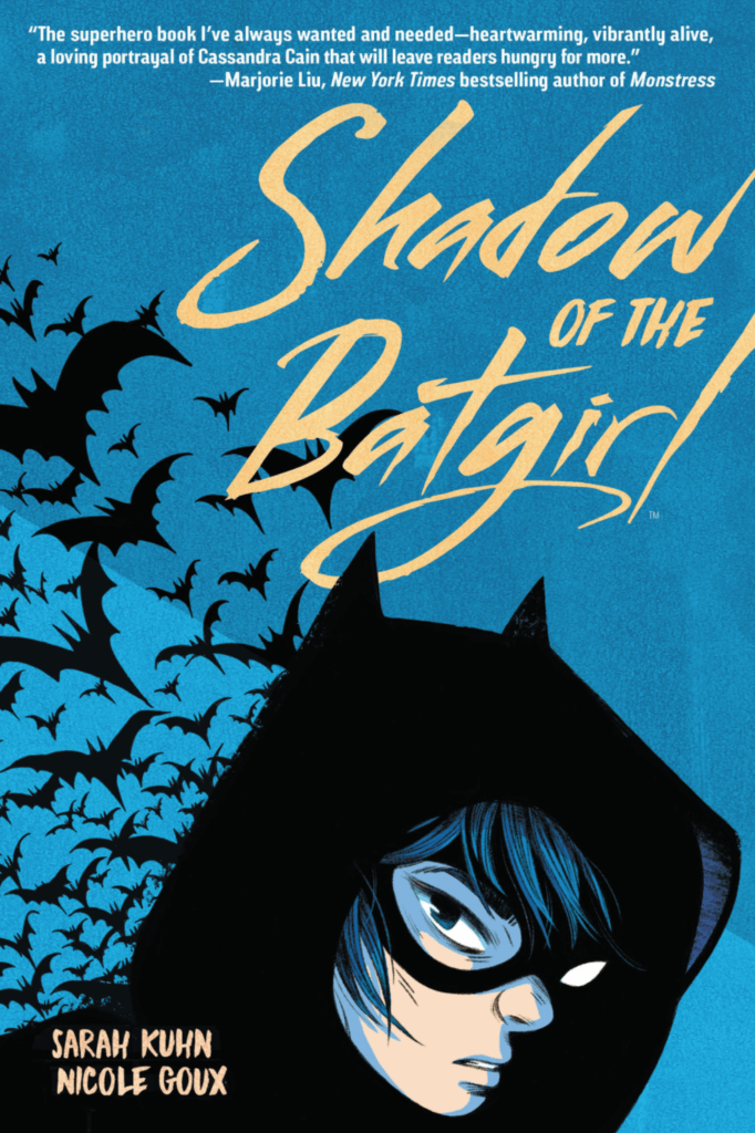 the cover of shadow of the batgirl shows the character in a cowl with a flock of bats behind her