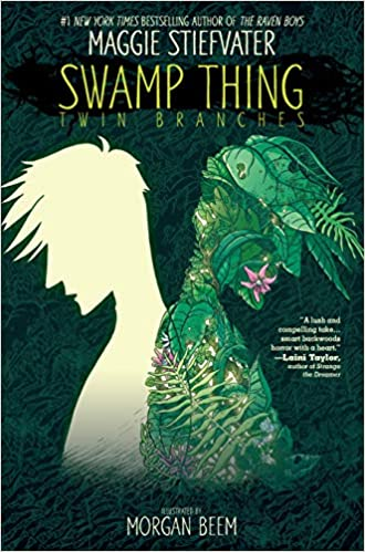 The cover of Swamp Thing Twin Branches shows two outlined teens back to back; one empty, one plants