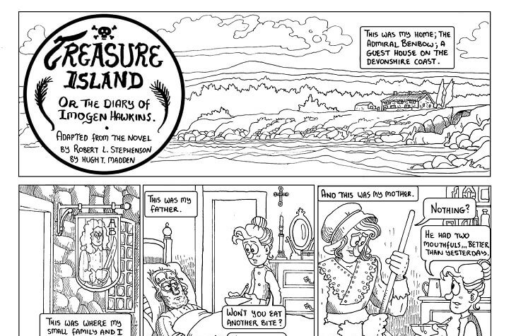 The first page of Hugh Madden's Treasure Island Adaptation, self-published, 2020