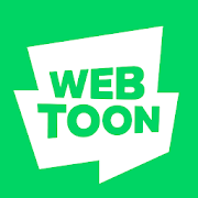 Webtoon Logo, green and white and also jagged.