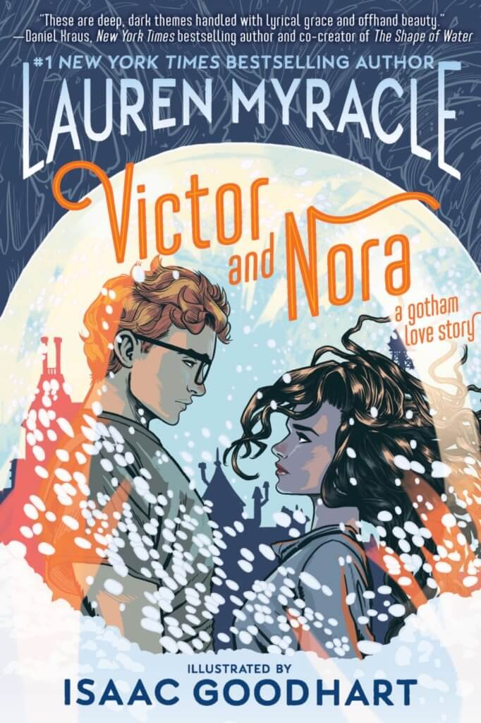 The cover of Victor and Nora shows the two characters looking lovingly at each other surrounded by white marks that look like snow