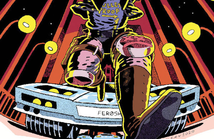 Mike Milligram's torso and legs running from a line of cars that are chasing behind him, from the variant cover of National Anthem #3