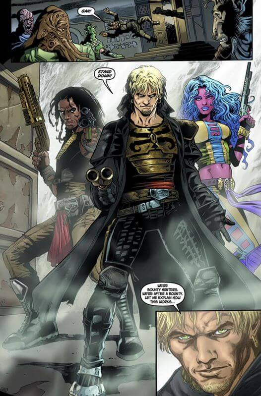 Cade and company make an entrance in Star Wars Legacy #1 (Dark Horse Comics, 2006)