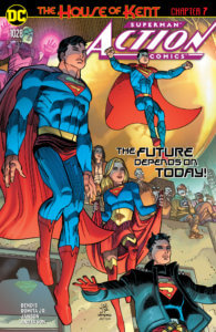 Superman, both Superboys and Supergirl in front of the Daily Planet