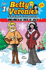 Betty Cooper, a Blonde white teenager with a ponytail, wears a mustard colored coat and tan tights and boots. Beside her is Veronica Lodge, in a plaid red coat, flared skirt and hood, tendrils of her black hair escaping her hat. They stand before a tee-dotted, snow laden outdoor backdrop and a purple gradient sky. Over one of the rises of snow, Archie Andrews watches them adoringly, little red hearts floating around his head as he admires them in his blue winter jacket.