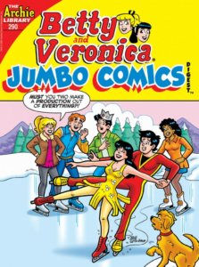 Veronica Lodge and Reggie Mantle have dressed up fancily for a simple friendly ice skating date, Veronica in a yellow skating costume with spangles and red skates, reggie in a red track suit with black teeshirt. They ae pulling off an elaborate ice dacing move as Betty, Jughead, and Archie watch. Betty shouts that they are making a production of everything.