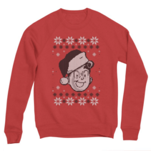 A red christmas sweater with Archie Andrews' face on it. Archie Wears a Santa Hat