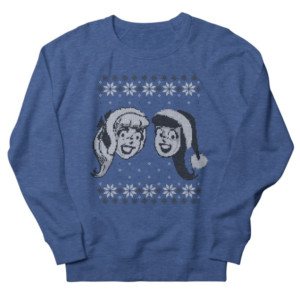 Betty Cooper and Veronica Lodge pose on the front of a blue background. The design is like an ugly christmas sweater, and is blue