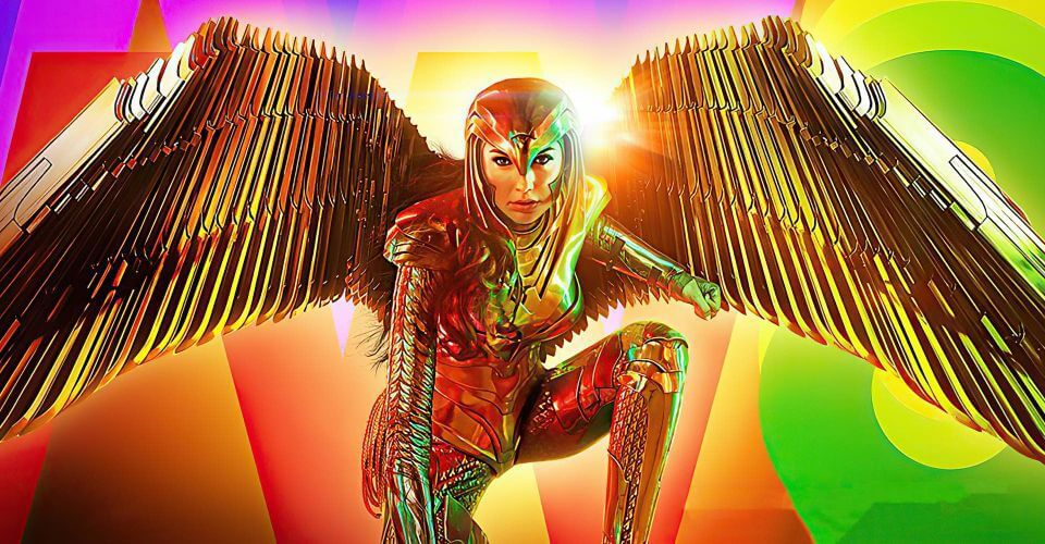 Wonder Woman in Gold Full Plate armor with Wings crouches, neon shapes and a bright hallow provide a backdrop