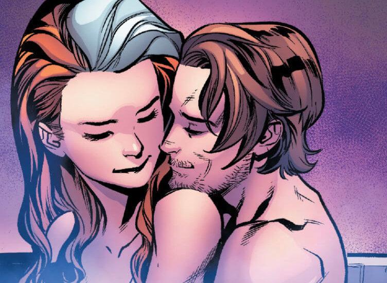 Rogue and Gambit embracing on Krakoa
