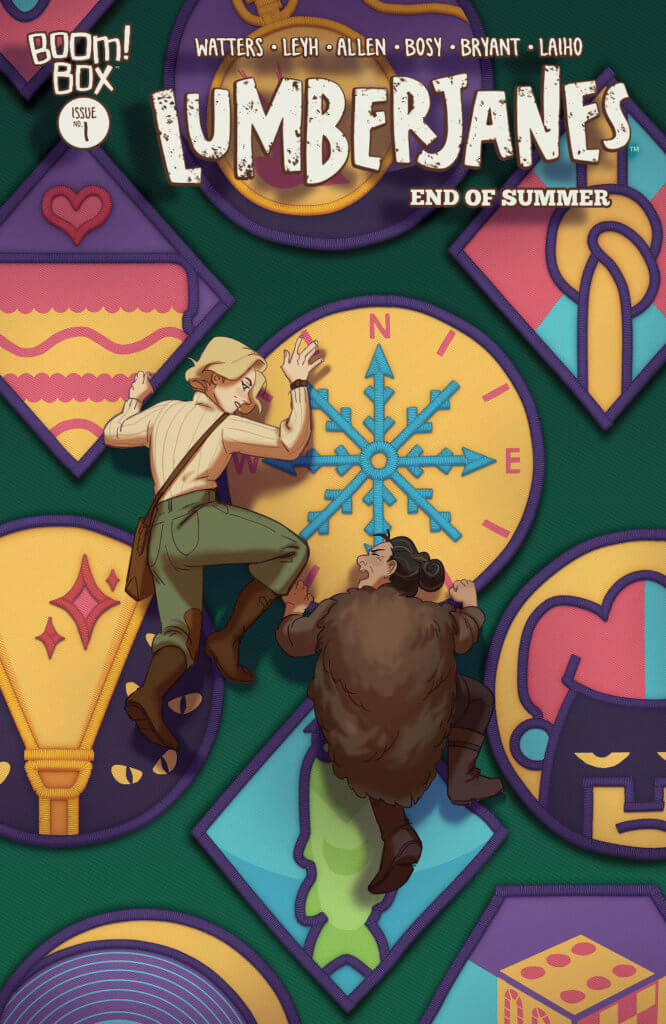 A colorful alternate cover features beautiful symbols and the Lumberjanes, all of which are climbing