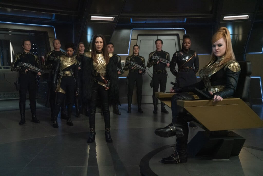 The bridge crew of the Mirror Universe Discovery including Mirror Tilly (Mary Wiseman) and Emperor Georgiou (Michelle Yeoh) in Terra Firma, Part 2 (ST:D S3, E10) Promotional Photo Courtesy of CBS