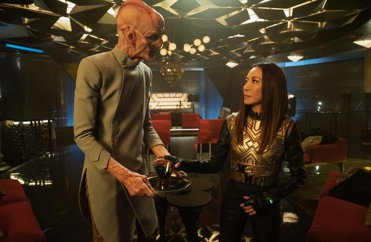 "Emperor Georgiou (Michelle Yeoh) and Mirror Saru (Doug Jones) in Star Trek Discovery's ""Terra Firma, Part 2"" (S3, E10)"