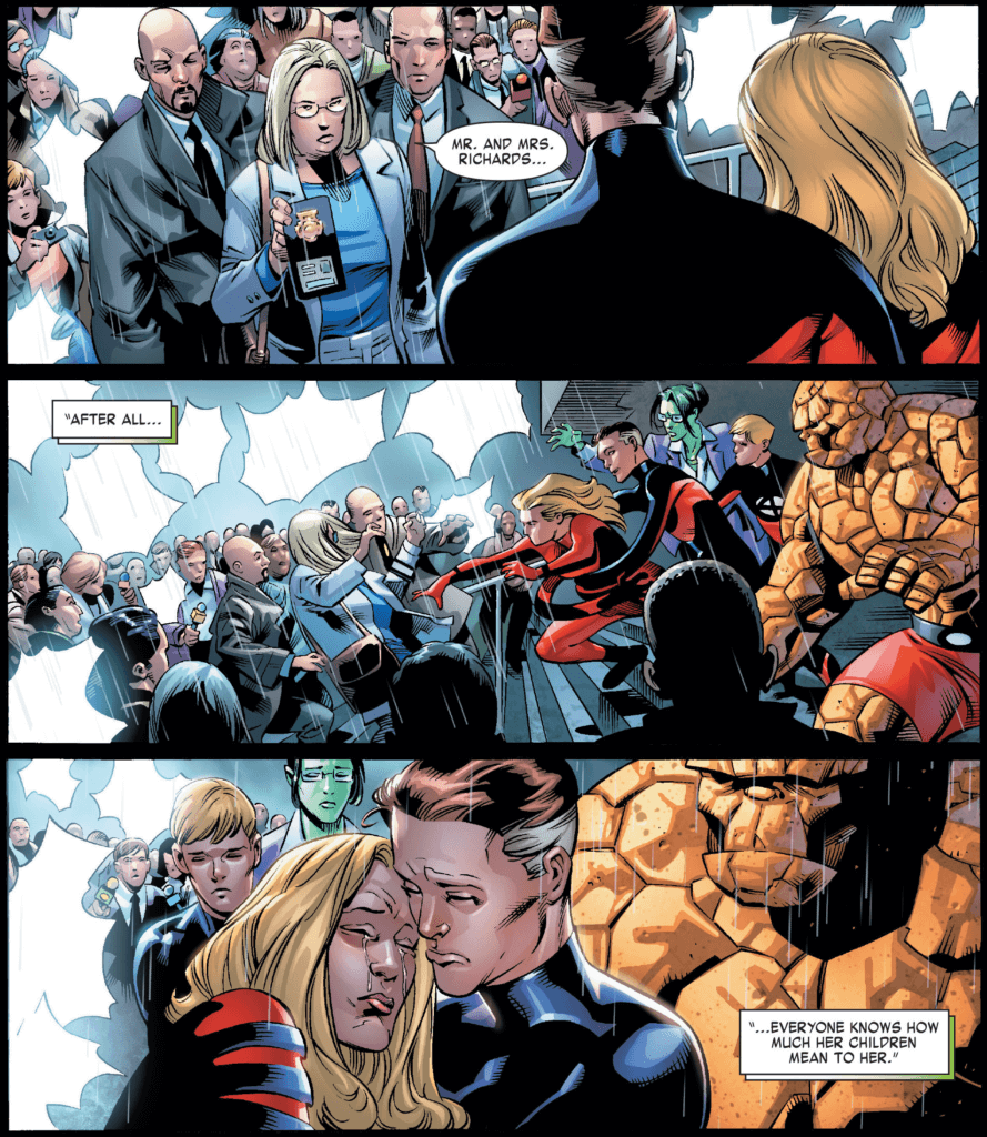 First panel: in a dense crowd on the steps of a court building, a woman flashes a badge at Susan and Reed Richards with the implication that this woman will be taking custody of the Richards's children and wards. Second panel: Sue reaches out with the implied intent to attack the woman. Reed restrains her. We see Ben, Johnny and Jennifer Walters alongside them, preparing for a physical confrontation. Third panel: Reed holds a crying Sue comfortingly. Ben, Johnny and Jennifer behind them look mournful.