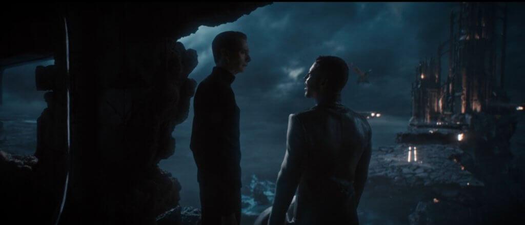 "Doug Jones as Saru and Wilson Cruz as Culber look at shifting citadel around them in Star Trek Discovery, 311, ""Su'Kal"""