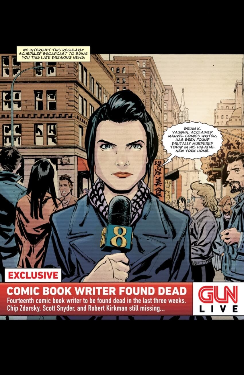 A news report with a bunch of dead comic writers.