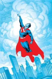 Superman flying, in only shades of red blue and black