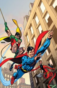 Superman, Robin and Elongated Man teaming up