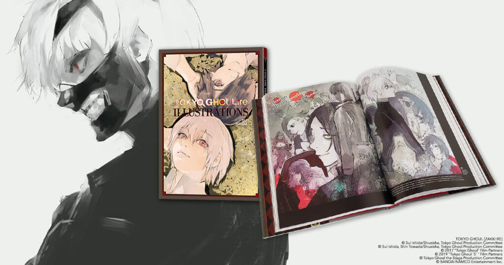 Promotional graphic showing off the cover and interiors of the art book.