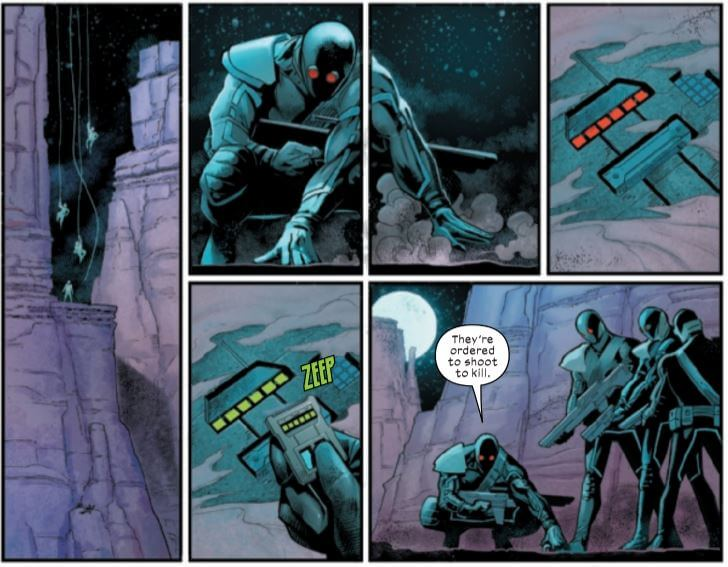 Cover soldiers break into a facility. By Percy, Bogdanovic, and Wilson.