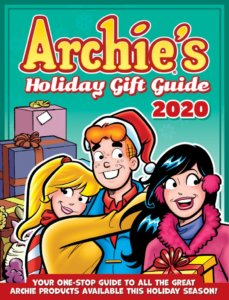 Archie Andrews - a redheaded teenager in a red shirt, blue coat, and red santa hat - is embraced by blonde-haired teenager Betty Cooper - she's wearing a yellow sweater and a red-and-white-striped scarf, her hair tied back in a ponytail. In the foreground is dark-haired, white skinned veronica lodge, in a pink jacket, purple turtleneck and pink earmuffs, holding a gift. In the background against a turquoise background is also a pile of red-ribboned purple wrapped gifts