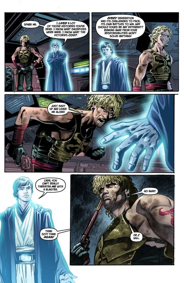 Cade Skywalker is confronted by the force ghost of Luke Skywalker