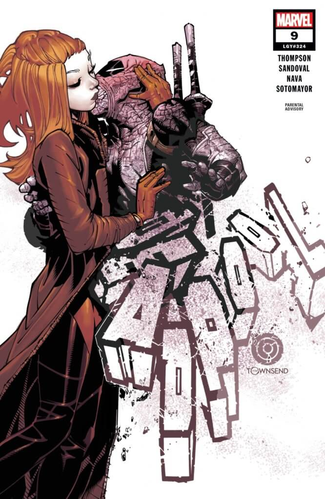 Wade Wilson, Merc with a Mouth, embraces his lady love and kisses her while holding on to his katana. he's crumbling from the neck down, however, his body forming the title of the book.