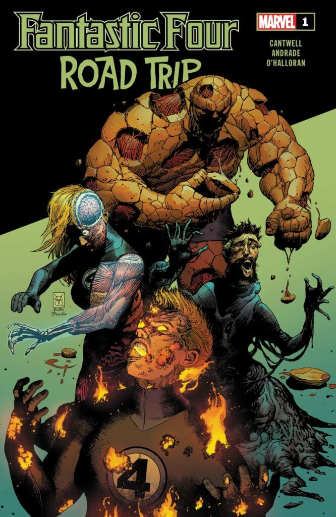 The Thing, Ben Grim - his orange skin peeling away to show the mucles inside - stands before a mouldering and screaming reed richards. beside them is a blonde Sue storm, her body half-visible. In the extreme left foreground is Johnny Storm, flames emerging from his mouth and nose, screaming in apparent agony