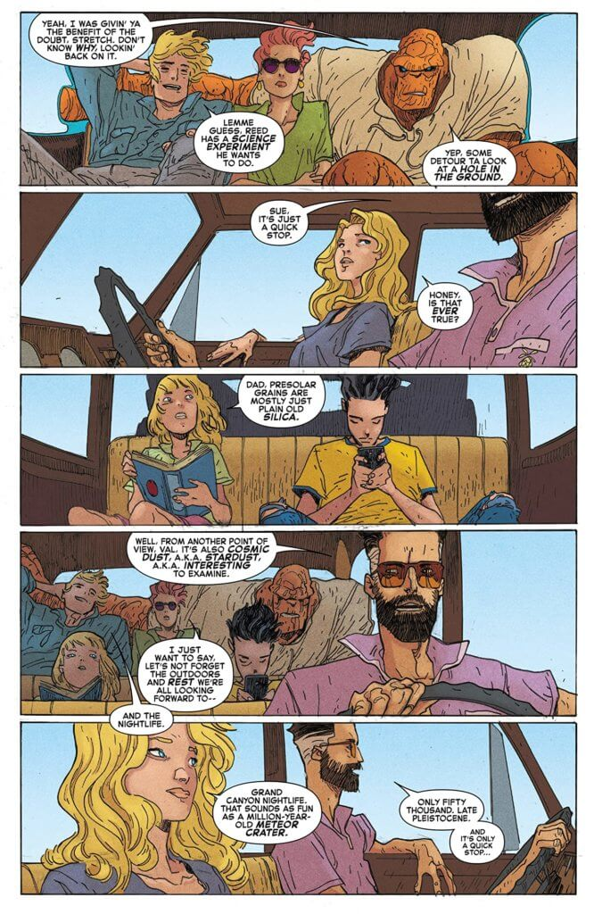 A page from Fantastic Four: Road Trip in which Reed blabs on about his hope to science things up