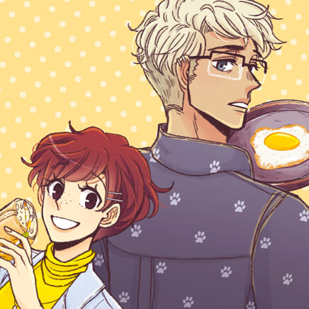 Image from Gourmet Hound, a Webtoon by Leehama. The main characters, a tall blonde man with glasses and a short redhead, stand back to back, the man with a frying pan and the woman with a sandwich.