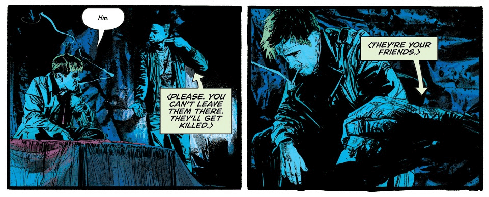 """Two panels, the first showing Constantine seated and saying """"Hm."""" In sign language, Noah replies, """"Please. You can't leave them there. They'll get killed."""" The next panel shows a closeup on Noah's hands, continuing to sign, """"They're your friends."""""""