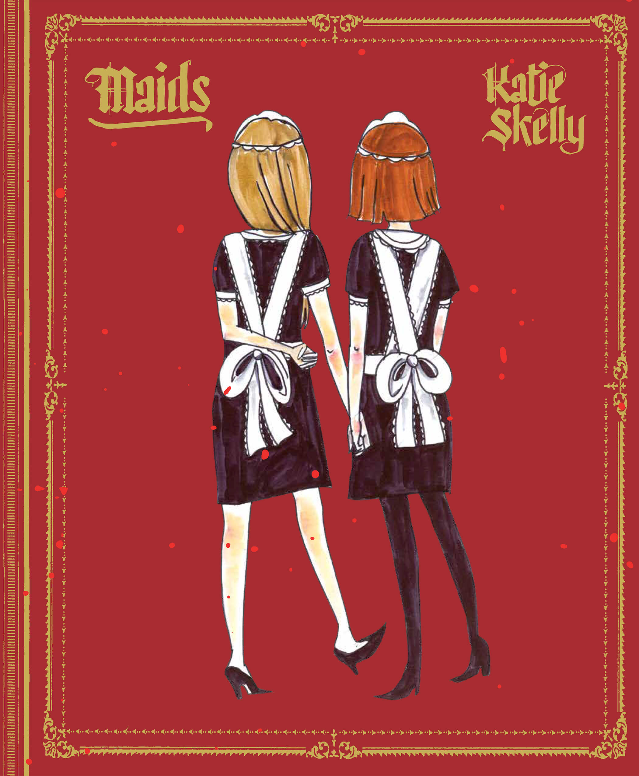 The cover of Maids by Katie Skelly -- the back of two girls wearing maid uniforms, their white apron bows tied. They hold hands on a red background surrounded by gold gilt.