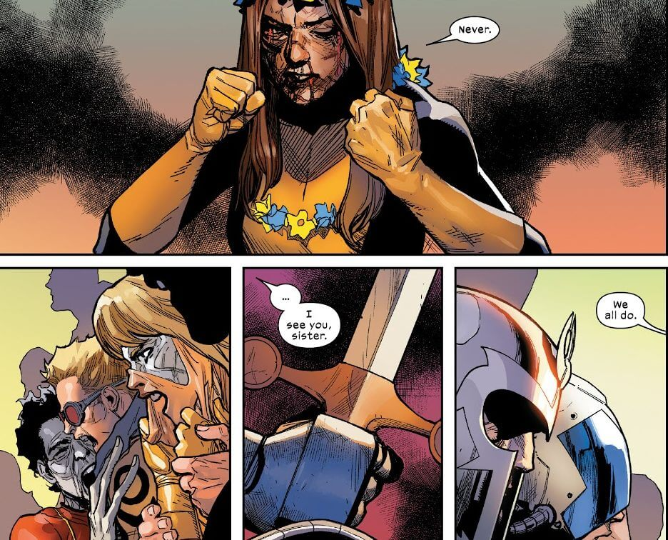 Panels from X-Men #7 by Hickman and Yu, published by Marvel Comics, 2020