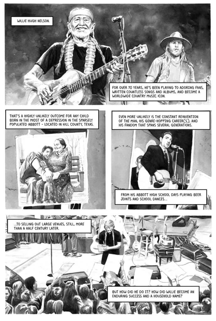A greywashed page introduces musician willie nelson to the readership