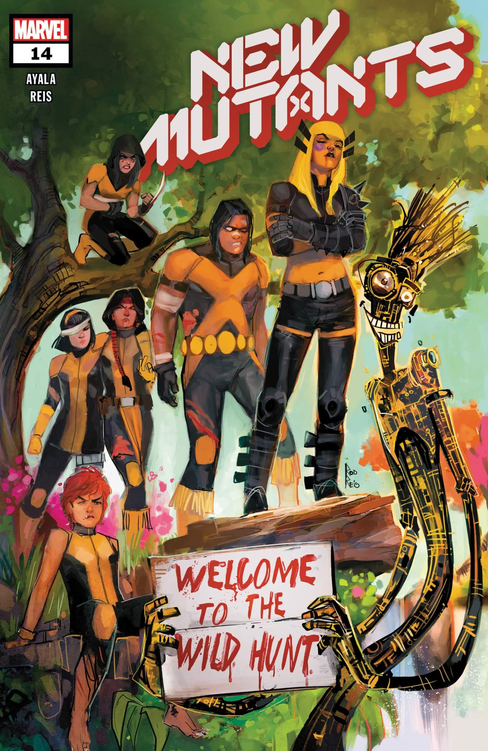 "A passle of New Mutants (Rahne, Gabby, Karma, Dani Moonstar, Warpath, Magik, and Warlock) stand in front of/on top of a tree. Warlock is holding a sign saying ""Welcome to the Wild Hunt."""