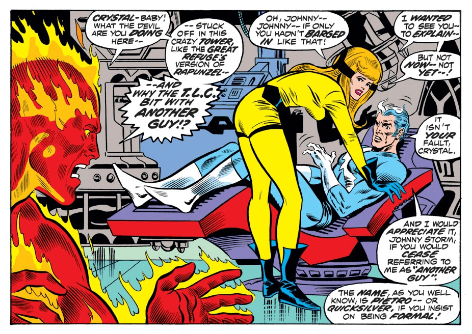 Johnny Storm catches Crystal and Quicksilver in a compromising position. Fantastic Four v1 #131 Writer:Roy Thomas Inker:Joe Sinnott Colorist:Petra Goldberg Letterer:John Costanza Penciler:Ross Andru