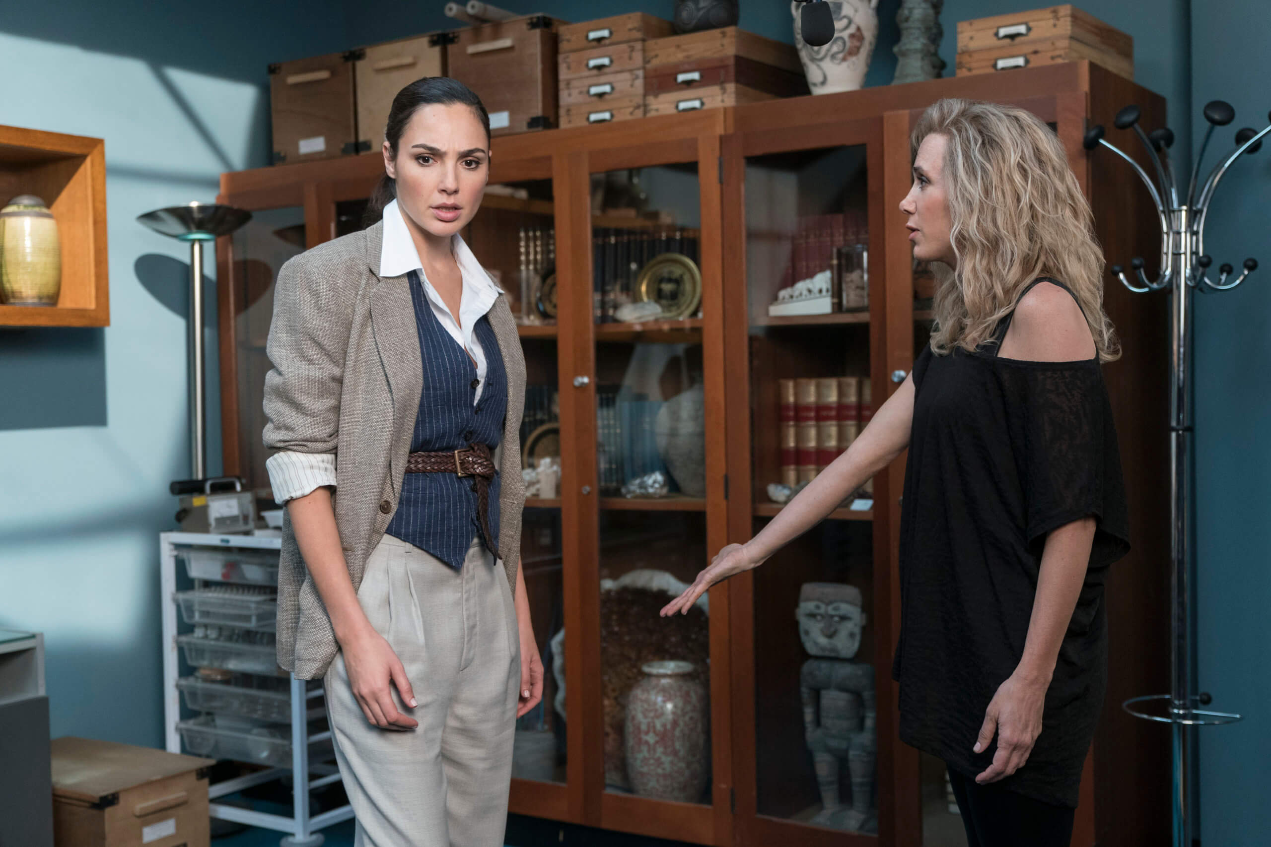 Gal Gadot as Diana Prince with Kristen Wiig as Barbara Minerva in Wonder Woman 1984. Patty Jenkins (Director and Writer). Image courtesy Warner Brothers Media