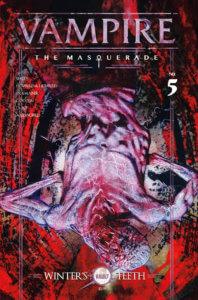 A desicated vampire monster hands upside down