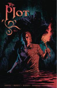 A man walks through a dark swamp holding a lit torch