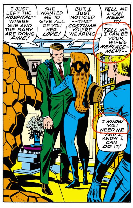 Crystal, in her own Fantastic Four uniform, offers herself as a replacement for Sue Richards. Fantastic Four v1 #81 Writer:Stan Lee Inker:Joe Sinnott Colorist:Michael Kelleher Letterer:Art Simek Penciler:Jack Kirby