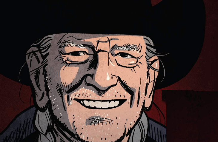 Willie Nelson - a grey-haired musician with long braids and a black cowboy hat - smiles out from a maroon background