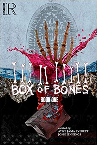 A skeletal hand reaches out of a box on the cover of Box of Bones