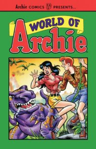 Archie Andrews - a redheaded white teenager in a brown leather jacket, jean jorts, hiking boots and a black teeshirt, saves Veronica Lodge, a brunette white teenager with a pink blouse and yellow horts, from a slavering purple dinosaur
