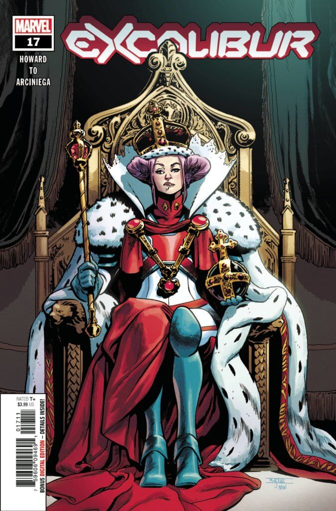 Queen Elizabeth on her throne on the Excalibur #17 cover by Asrar and Wilson