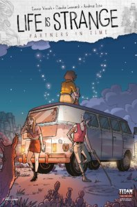 A van is parked in the desert. One woman sits atop the van staring at the sky. Two other women lean against the van, one of them with bluish-purple hair tracing patterns in the sand with a stick.