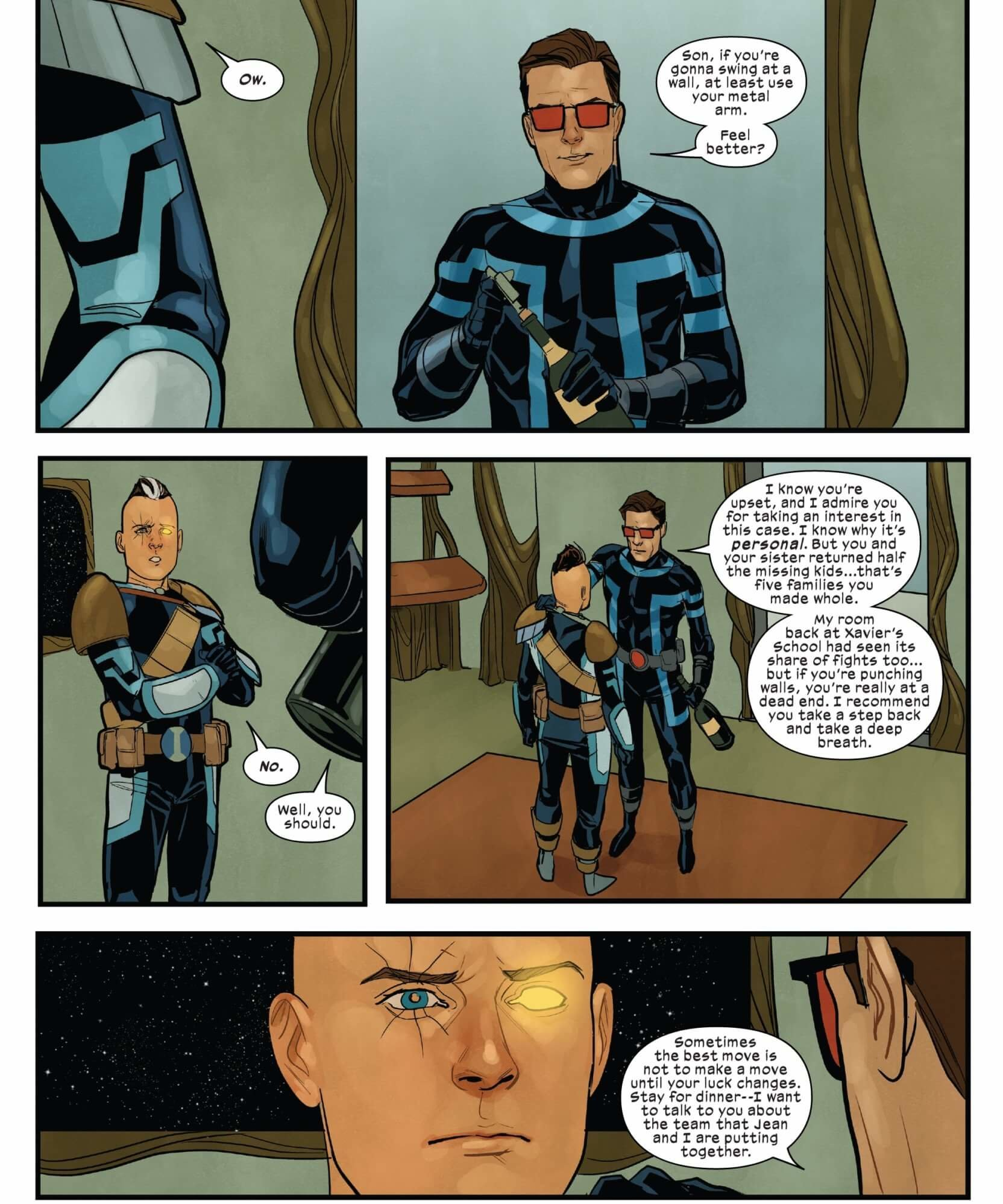 Cable and Cyclops share a moment