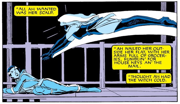 Panel from Uncanny X-Men #203 by Chris Claremont, John Romita Jr., Al Williamson, Glynis Oliver, and Tom Orzechowski depicting Rogue fighting Ms. Marvel