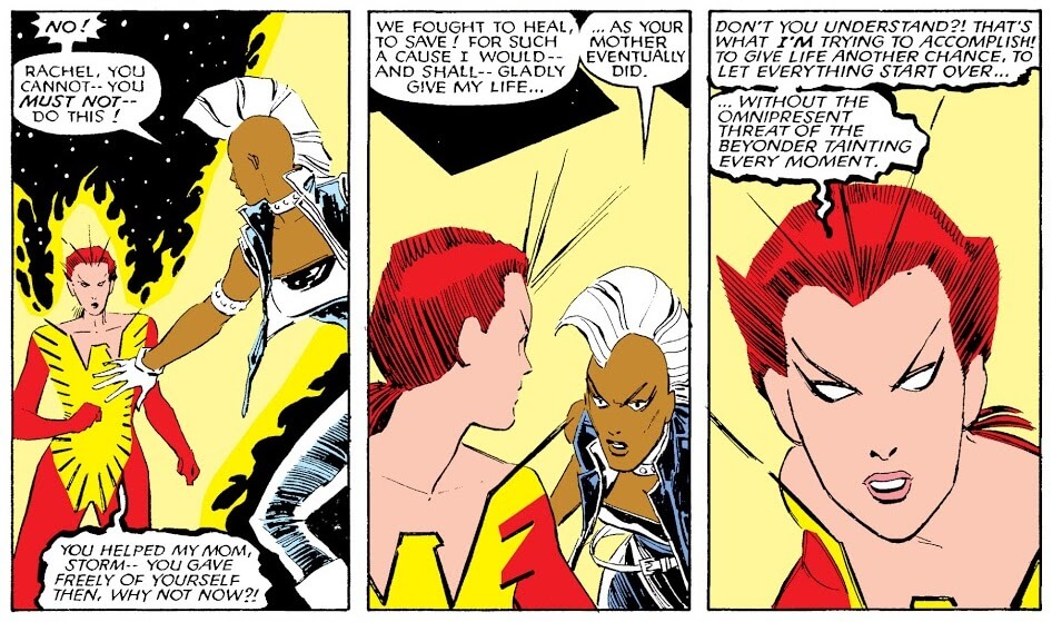 Panels from Uncanny X-Men #203 by Chris Claremont, John Romita Jr., Al Williamson, Glynis Oliver, and Tom Orzechowski depicting Storm reasoning with Rachel